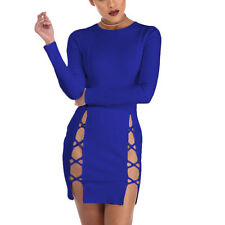 2017 New Sexy Women Long Sleeve Bandage Bodycon Evening Club Mini Party Dress