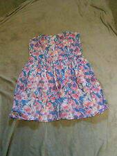 pink/white/blue floral strapless MINI/MICRO dress size 12 by LOVE LABEL VGC