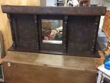 Antique 19th Century Wall Mounting/ Standing Victorian Carved Oak Framed Mirror