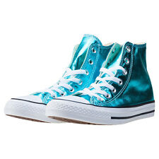 Converse Ct All Star Metallics Hi Womens Trainers Blue Branded Footwear