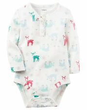 NWT CARTER'S BABY HENLEY BODYSUIT WHITE WITH DEER/SNOWFLAKES 3M & 6M