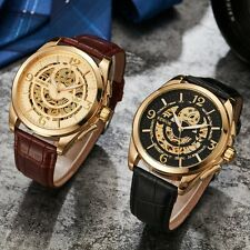 New Automatic Watch Mechanical Skeleton Men's Wristwatches Leather Watches Women