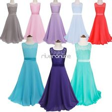 Flower Girls Chiffon Tulle Dress Birthday Pageant Wedding Party Formal Prom Gown