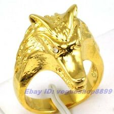 Size 9,10 Ring,REAL RARE WOLF HEAD 18K YELLOW GOLD GP SOLID FILL UK R,T 7500r