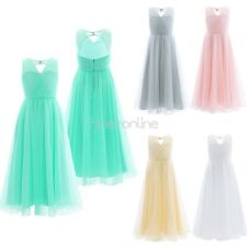 Flower Girls Lace Tulle Dress Pageant Princess Wedding Kids Birthday Formal Gown