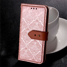 Retro Flower Embossed Leather Wallet Case Flip Stand Cover For iPhone Samsung LG