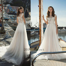 2017 Wedding Dresses White Ivory Shee Lace Applique Bridal Gowns A Line Custom