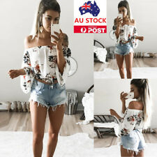 AU Women Off Shoulder Printed Tops Batwing Sleeve Casual Silm T-Shirt Blouse Tee