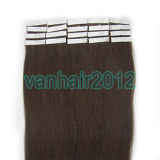New PU Seamless Skin Tape In Remy Human Hair Extensions Straight #02 Dark Brown