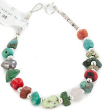 $60Tag Silver Navajo Natural Turquoise Multicolor Native American Bracelet