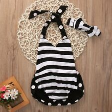 Newborn Kids Baby Girl Clothes Striped Jumpsuit Romper Playsuit +Headband Outfit