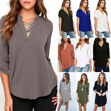 Plus Size Womens V Neck Chiffon Tops Loose Casual T Shirt Ladies Blouse AU 6-18