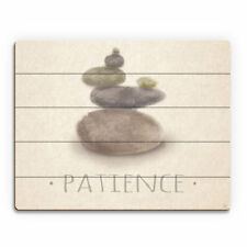 Click Wall Art 'Patience Zen Stones Horizontal' Painting Print on Wood