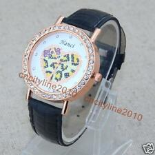 Cartoon Heart-shaped Crystal Love Leather Band Women Girl Quartz Wrist Watches