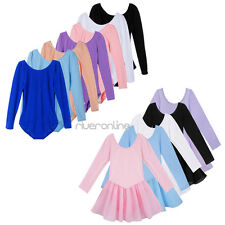 Toddler Girls Kids Gymnastics Long Sleeve Ballet  Leotard Tutu Skirt Dance Dress