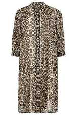 YoursClothing Plus Size Womens Ladies Leopard Print Maxi Shirt Side Splits