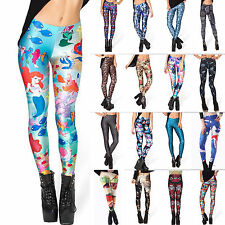 Womens Punk 3D Print Leggings Stretchy Slim Skinny Tight Jeggings Pencil Pants