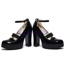Womens Patent Leather Mary Jane High Heel Platform Ankle Strap Prom Shoes pumps