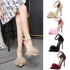 Women Ladies Block High Heel Feathers Shoes Ankle Strappy Party Shoes AU 2.5-5