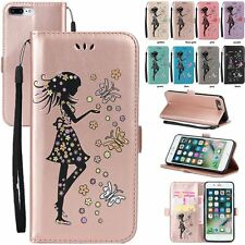 Lovely Girl Flip Leather Wallet Stand Case Cover For iPhone 5 5S 6 6S 7 Plus SE