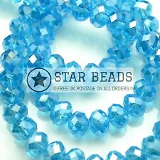 FACETED RONDELLE CRYSTAL GLASS BEADS 4MM,6MM,8MM,10MM - AQUAMARINE (HALF AB)