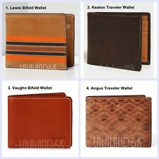 FOSSIL MENS LEWIS KEATON VAUGHN ANGUS TRAVELER BIFOLD TRIFOLD LEATHER WALLET