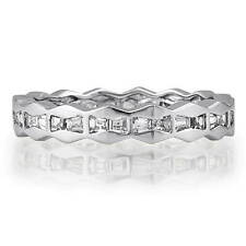 Silver Channel Set Baguette Cubic Zirconia CZ Sawtooth Eternity Ring 0.8 CT