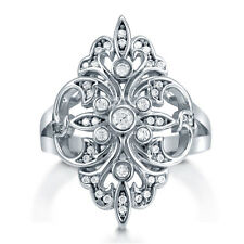 BERRICLE Sterling Silver CZ Fleur De Lis Art Deco Right Hand Cocktail Ring