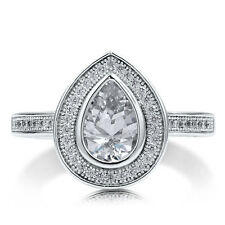 BERRICLE Sterling Silver Pear Cut CZ Halo Engagement Ring 1.67 Carat
