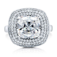 BERRICLE Sterling Silver Cushion Cut CZ Halo Fashion Right Hand Cocktail Ring