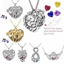 Caged Heart Owl Crystal Birthstones Inside Locket Pendant Necklace Gift Jewelry