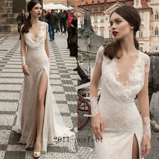 Sexy High Slit Wedding Dresses Sheer Lace Mermaid Bridal Gowns V Neck Custom New