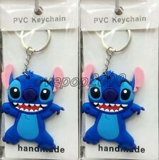 Lot Cartoon Stitch Double sided Rubber Key rings Key Chain Party Favors A448