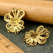 6pcs Solid Brass Butterfly Filigree Earing Connector Jewelry Pendant Charms be03