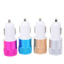 White Universal Dual 2 Port Twin USB 12v Car Charger Socket Lighter Adapter 2.1A