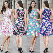 Vintage Rockabilly Floral 50s Dress Women Evening Housewife Cocktail Party Dress
