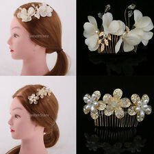 Charming Bridal Bridesmaid Rhinestone Pearl Hair Comb Hairpin Wedding Jewelry