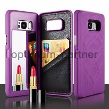 For Samsung Galaxy S8 Plus Case Wallet Card Slot Mirror Leather Flip PC Cover