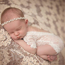 Newborn Baby Bodysuit Romper Girl Lace Floral Photo Props Photography Costume #