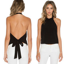 Sexy Womens Sleeveless Halter Neck Backless Pure Color Tops Vest Shirt Blouse