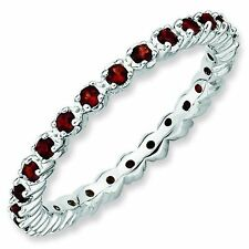 Garnet Prong Set Eternity Band Sterling Silver Stackable Ring