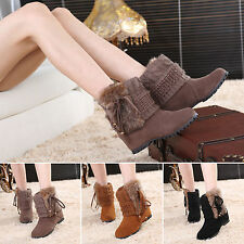 Womens Winter Warm Fur Lined Suede Booties Knitted Snow Flat Ankle Boots Shoes