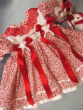 DREAM BABY GIRLS RED FLORAL DRESS & HBD NEWBORN 0-3 OR REBORN DOLL