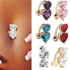 Fashion Reverse Crystal Bar Belly Ring Gold Body Piercing Button Navel Two Heart