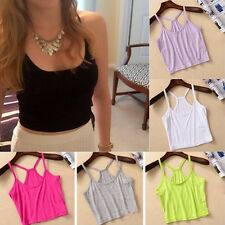 Womens Sleeveless Cami Bralet Y Shape Strap Tank Top Vest Camisole Crop T-Shirt
