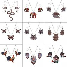 Fashion Butterfly Owl Resin Printing Necklace Earrings Women Jewelry Set Gift