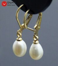 7-9mm White Drop Natural Freshwater Pearl & Gold-color leverback Earring-ear537