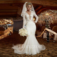 Wedding Dresses Bridal Gowns Long Sleeve Mermaid Lace Size 8 10 12 14 16 18 Plus