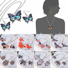 Fashion Women Resin Butterfly Owl Animal Printing Necklace Earrings Set Jewelry