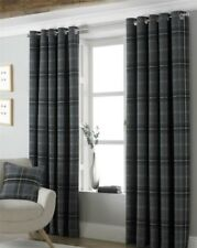 TARTAN CHECK WOVEN WOOL LOOK GREY LINED RING TOP CURTAINS 7 SIZES